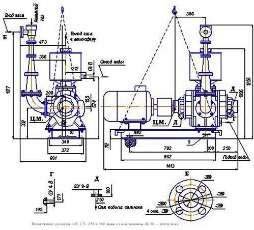 Габаритный чертеж вакуумного водокольцевого насоса ВВНЭ-3/20.