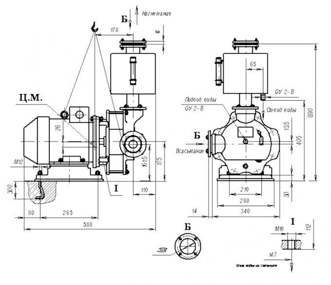 Чертеж компрессор водокольцевой ВК-0,75