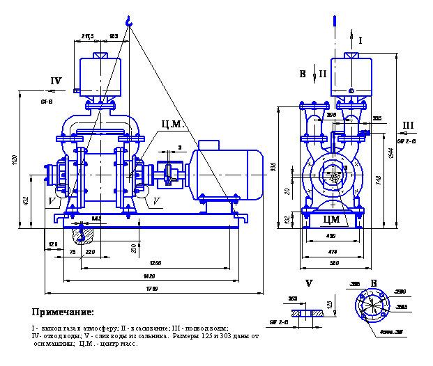 Чертеж габаритный вакуумного водокольцевого насоса ЖВН-12Н.