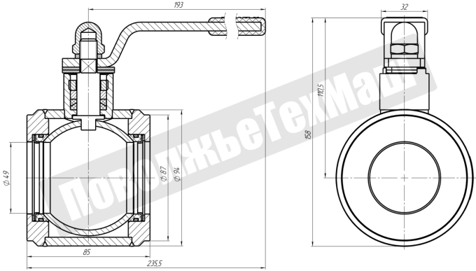 Кран-шаровой-ДУ50-межфланцевый