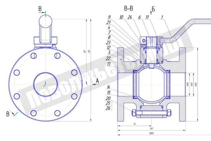 Кран шаровой алюминиевый ДУ50 КШРФ.03.1050016-04