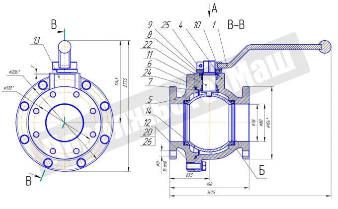Кран шаровой алюминиевый ДУ80 КШРФ.04.1080016-0