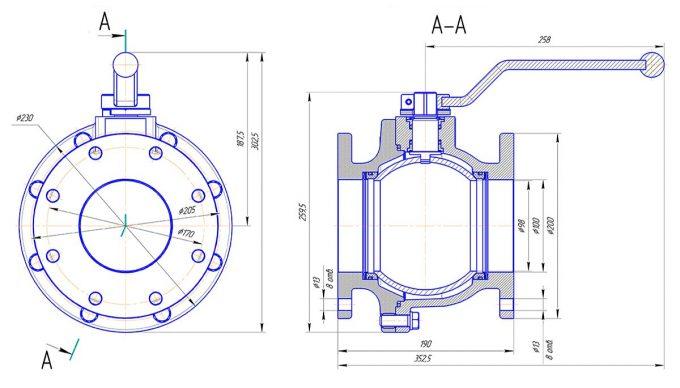 Кран шаровой алюминиевый ДУ100 КШРФ.05.1100006-04