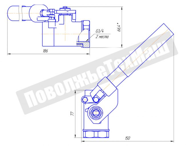 Кран шаровой с возвратным механизмом ДУ20 КШРМ.04.1020010-04