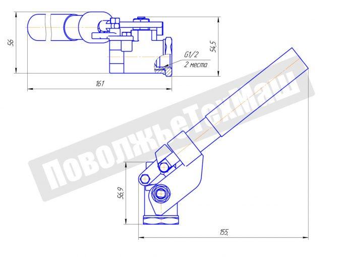 Кран шаровой с возвратным механизмом ДУ15 КШРМ.02.101501-04
